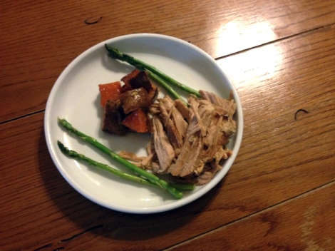Slow-cooked pork with maple sweet potatoes and blanched asparagus