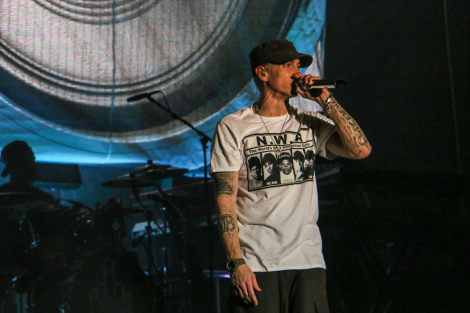 Marshall Mathers, AKA Eminem, gives ACLers a lively performance. Photo by: Josh Guerra.