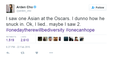 Arden Cho tweet