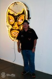 """Artist Todd Sanders in front of his """"White Luchador"""" / Photo by Ray Gilford"""