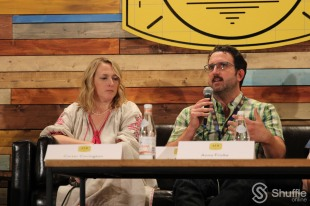 Panelists Liz Tigelaar and Carter Covington / Photo by ChinLin Pan