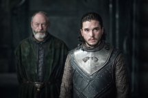 Jon Snow (Kit Harington) and Ser Davos (Liam Cunningham)   Photo credit: Helen Sloan/HBO