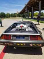 Ernie Cline's DeLorean parked in front of the Palmer Events Center